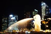 stock photo of singapore night  - The Merlion in Merlion Park at night - JPG