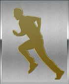 Gold On Silver Cricket Bowler Sport Emblem