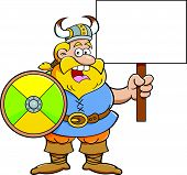 Cartoon viking holding a sign.