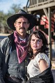 image of gallows  - Portrait of an old west woman and sheriff - JPG