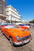 HAVANA, CUBA - FEBRUARY 25, 2014: Vintage classic american car in Old Havana. Thousands of these cars are still in use in Cuba and have become a worlwide known icon of the country