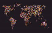 Grunge Colourful Collage Of World Map On Black Background - Vector Illustration For Travel Design poster