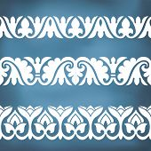 stock photo of ottoman  - Seamless floral tiling borders - JPG