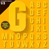 Modern flat alphabet for infographics with long ambient shadow. Condensed Yellow Upper case