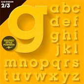 Modern flat alphabet for infographics with long ambient shadow. Slab  Yellow Small case