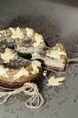 picture of cheesecake  - Cheesecake with black sesame seeds on Halloween - JPG