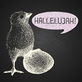 Easter Hand-drawn Chick With Humorous Phrase On Chalkboard Background