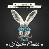 stock photo of hare  - Hipster Easter  - JPG