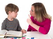 young pupil doesn't want to learn, he confronts his mother who is threatening him
