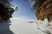Apostle Islands Ice Caves on frozen Lake Superior, Wisconsin