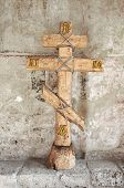 Orthodox, Byzantine or Russian wooden Cross in Monastery Sopocani, Serbia