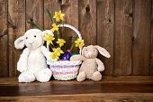 Bunny, Lamb and chick with Easter Basket - Rustic