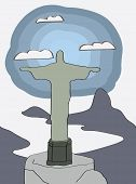 Rio de Janeiro. Christ statue. Vector illustration for newspaper or magazine