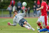 TRAISKIRCHEN, AUSTRIA - JUNE 5 Emir Plakalo (#1 Bosnia and Herzegovina) saves the ball during the U1