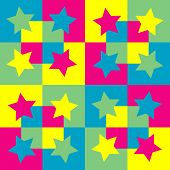 Pattern background with squares and stars.