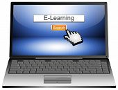 Laptop with internet web search engine e-learning