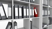 Office cupboard with different folders. 3d image