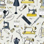Sewing tools, vintage seamless pattern