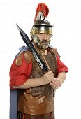 picture of legion  - Portrait of Roman soldier holding a sword isolated on a white background - JPG