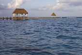 stock photo of yucatan  - wooden dock at the caribbean sea at Yucatan Peninsula - JPG