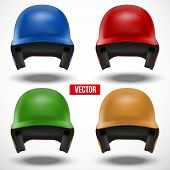 Set of multicolor Baseball helmets front view