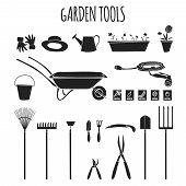 Garden tools icons set