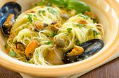 Spaghetti with mussels and capers