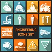 foto of assemblage  - Engineering construction and industrial icons set of working industry and equipment symbols vector illustration - JPG
