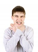 pic of strangle  - Nervous Teenager strangle himself Isolated on the White Background - JPG