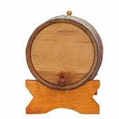 Wine Barrel On White Background
