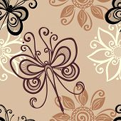 Seamless Ornate Floral Pattern with Dragonfly