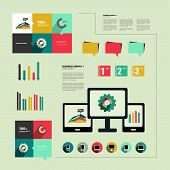Infographics flat design. Elements for catalogs, annual reports, brochures, magazines.