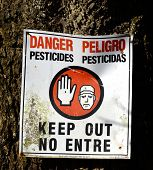 Danger Pesticides Sign Square