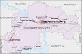 stock photo of dnepropetrovsk  - Map of Dnipropetrovsk Oblast with major cities and roads - JPG