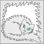 Fluffy Frame With White Fluffy Cat Vector Illustration