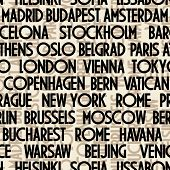 art seamless vector pattern background with names of cities