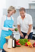 Mature Couple Cutting Vegetables