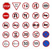 image of truck-stop  - traffic prohibition sign for warming on road and safety street sign vector icon set - JPG