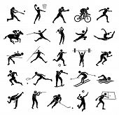 pic of taekwondo  - beautiful silhouette sport icon set in white background vector set - JPG