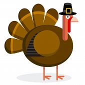 Vector Cute Cartoon Turkey With Pilgrim Hat