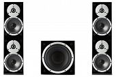 stock photo of subwoofer  - Pair of black high gloss music speakers and subwoofer isolated on white background - JPG