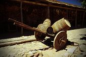 Antique Wagon With Barrels In The Castle Castelo De Castro Marim In Portugal.