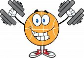 Smiling Basketball Cartoon Character Training With Dumbbells