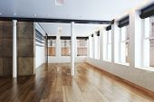 foto of highrises  - Empty Highrise apartment with column accent interior and hardwood floors - JPG