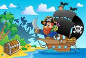 Pirate ship theme image 1 - eps10 vector illustration.