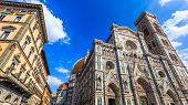 Duomo Cathedral And Bell Tower In Florence, Italy.