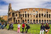 People Near The Colosseum In Rome, Italy