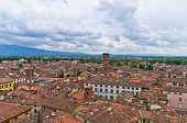 Cityscape of Lucca with Guinigi tower in background, Tuscany
