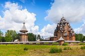 Russian Wooden Church Of The Intercession. Nevsky Forest Park. St.-petersburg