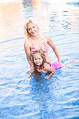 Mother and child at the swimming pool